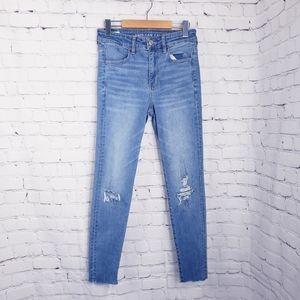 American Eagle Hi Rise Jeggings Skinny Jeans Rip